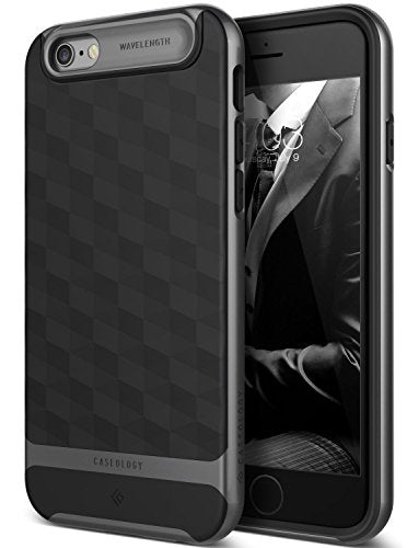 iPhone 6S Case, Caseology [Parallax Series] Slim Dual Layer Textured Geometric Corner Cushion Design [Black] for Apple iPhone 6S (2015) & iPhone 6 (2014)
