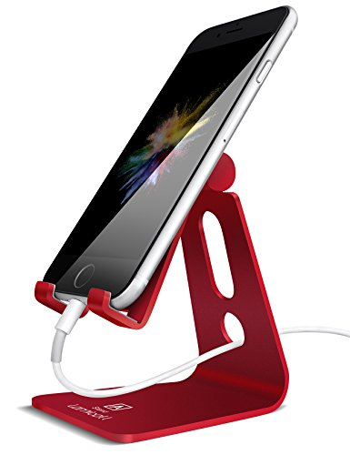 Adjustable Cell Phone Stand, Lamicall iPhone Stand : [UPDATE VERSION] Cradle, Dock, Holder For Switch, iPhone 8 X 7 6 6s Plus 5 5s 5c charging, Accessories Desk, all Android Smartphone - Red