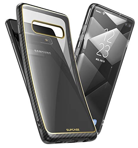 SUPCASE Unicorn Beetle Metro Series Designed for Samsung Galaxy S10 Plus Case (2019 Release) Transparent Slim Fit Flexible Soft TPU Cover with Stylish Electroplated Lines (Gold)