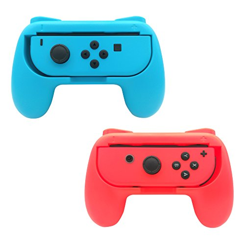 FastSnail Joy-Con Grips for Nintendo Switch, Wear-resistant Joy-con Handle for Switch, 2 Pack (Red and Blue)