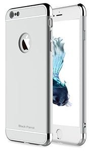 "Black Parrot iPhone 6S Case 3 In 1 Ultra Thin and Slim Hard Case Coated Non Slip Matte Surface with Electroplate Frame for Apple iPhone 6 (4.7"")(2014) and iPhone 6S (4.7"")(2015) - Silver"