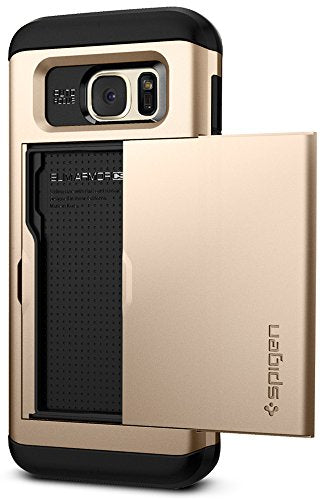 Spigen Slim Armor CS Galaxy S7 Edge Case with Slim Dual Layer Wallet Design and Card Slot Holder for Galaxy S7 Edge 2016 - Champagne Gold