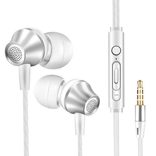 Stereo Extra Bass Earbuds Headphones With Microphone - vastland Wired Noise Isolating Earphone for Running Men & Women, Corded Headset for Samsung iPhone Cell Phone etc.(V5 White & Silver)