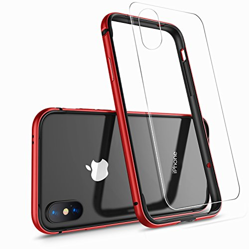 iPhone X Case, iPhone 10 Case,HUMIXX [Extre Series] Aluminum TPU Hybrid Shockproof Bumper Case for iPhone X (Include Clear Back Screen Protector)-Red