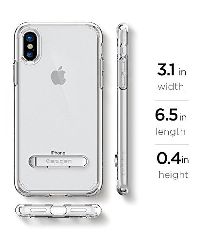 sports shoes 0bd35 3d961 Spigen Ultra Hybrid S iPhone X Case with Air Cushion Technology and  Magnetic Metal Kickstand for Apple iPhone X (2017) - Crystal Clear