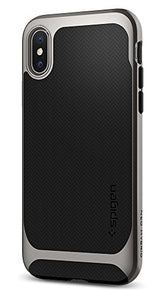 Spigen Neo Hybrid iPhone X Case Herringbone with Flexible Inner Protection and Reinforced Hard Bumper Frame for Apple iPhone X (2017) - Gunmetal