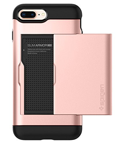 Spigen Slim Armor CS iPhone 8 Plus Case / iPhone 7 Plus Case with Slim Dual Layer Wallet Design and Card Slot Holder for Apple iPhone 8 Plus 2017 / iPhone 7 Plus 2016 - Rose Gold