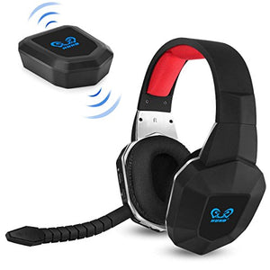 HUHD Wireless Stereo Gaming Headset 2.4GHz Optical Game Headphones with 7.1 Surround Sound for PS4 Xbox One PS3 Xbox 360 PC MAC Laptop Tablets Skype Detachable Microphone Rechargeable Battery