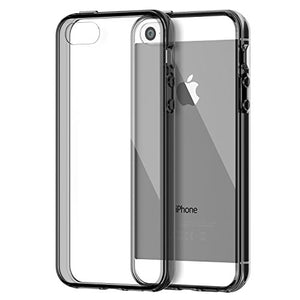 iPhone SE Case, JETech Apple iPhone 5/5S/SE Case Bumper Cover Shock-Absorption Bumper and Anti-Scratch Clear Back for iPhone 5 5S SE (Grey) - 0429