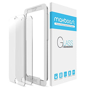 iPhone 8 7 Screen Protector, Maxboost (2-Pack) Tempered Glass Screen Protector for Apple iPhone 8, iPhone 7, iPhone 6s, iPhone 6 [Worry- Install][3D Touch] 0.2mm Screen+ Fit most Cases - Clear