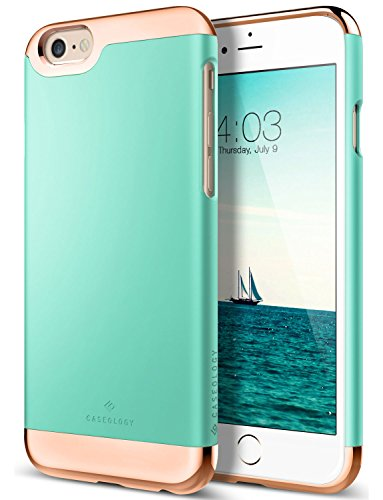 iPhone 6S Case, Caseology [Savoy Series] Chrome / Microfiber Slider Case [Turquoise Mint] [Premium Rose Gold] for Apple iPhone 6S (2015) & iPhone 6 (2014) - Turquoise Mint