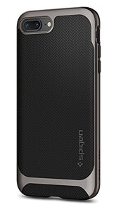 Spigen Neo Hybrid Herringbone iPhone 8 Plus Case / iPhone 7 Plus Case with Hard Bumper Frame for Apple iPhone 8 Plus (2017) / Apple iPhone 7 Plus (2016) - Gunmetal