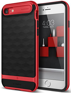iPhone 7 Case / iPhone 8 Case Caseology [Parallax Series] Slim Dual Layer Protective Textured Geometric Cover Corner Cushion Design for Apple iPhone 7 (2016) / iPhone 8 (2017) - Black / Red