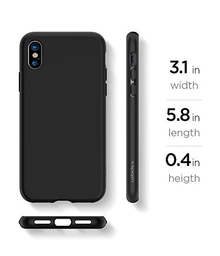 separation shoes 3f9ff 8dd6a Spigen Liquid Crystal iPhone X Case with Slim Protection and Premium  Clarity for Apple iPhone X (2017) - Matte Black