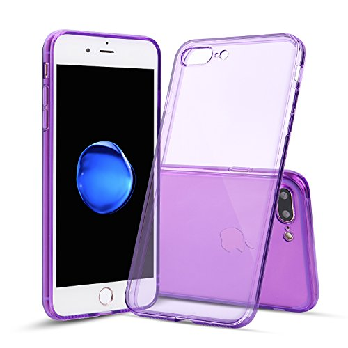 iPhone 7 Plus Case, Shamo's [Crystal Clear] Case [Shock Absorption] Cover TPU Rubber Gel [Anti Scratch] Transparent Clear Back, Soft Silicone, Screen Raised Lip Protection Impact Resistant, (Purple)
