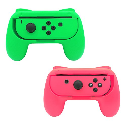 FastSnail Joy-Con Grips for Nintendo Switch, Wear-resistant Joy-con Handle for Nintendo Switch, 2 Pack (Green and Pink)