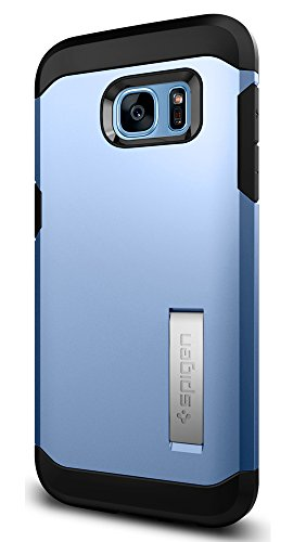 Spigen Tough Armor Galaxy S7 Edge Case with Kickstand and Extreme Heavy Duty Protection and Air Cushion Technology for - Blue Coral