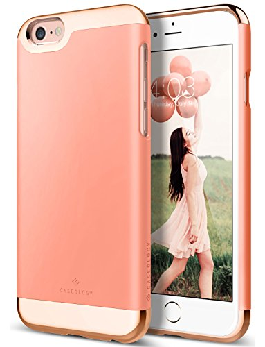 iPhone 6 Plus Case, Caseology [Savoy Series] Chrome / Microfiber Slider Case [Pink] [Premium Rose Gold] for Apple iPhone 6 Plus (2014) - Pink