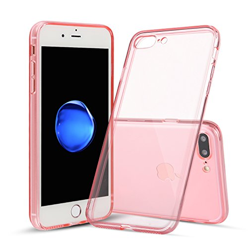 iPhone 7 Plus Case, Shamo's [Crystal Clear] Case [Shock Absorption] Cover TPU Rubber Gel [Anti Scratch] Transparent Clear Back, Soft Silicone, Screen Raised Lip Protection, Impact Resistant, (Pink)