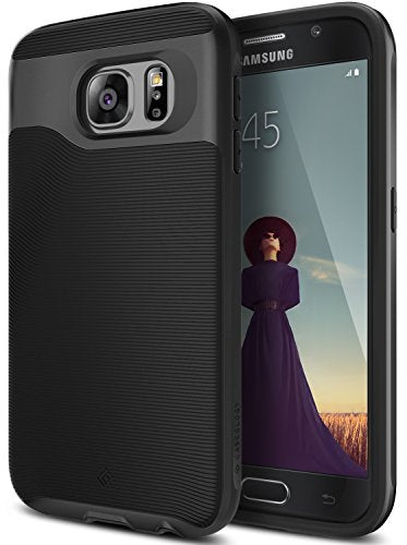 Galaxy S6 Case, Caseology [Wavelength Series] Slim Dual Layer Protective Textured Grip Corner Cushion Design [Black] for Samsung Galaxy S6