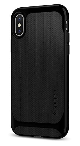 Spigen Neo Hybrid iPhone X Case Herringbone with Flexible Inner Protection and Reinforced Hard Bumper Frame for Apple iPhone X (2017) - Jet Black
