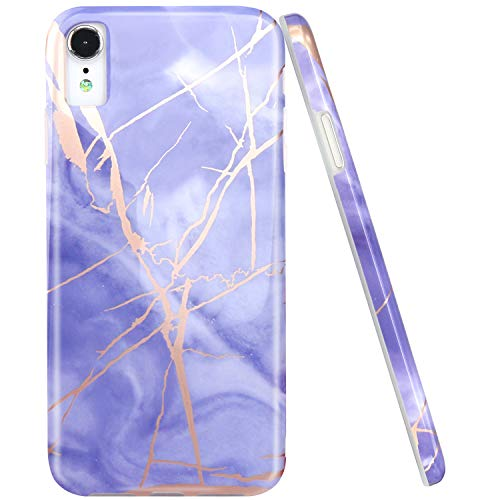 JAHOLAN Compatible iPhone XR Case Shiny Rose Gold Purple Marble Design Clear Bumper TPU Soft Rubber Silicone Cover Phone Case for iPhone XR 2018 6.1 inch