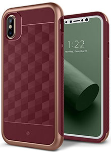 iPhone X Case, Caseology [Parallax Series] Slim Protective Dual Layer Textured Cover Secure Grip Geometric Design for Apple iPhone X (2017) - Burgundy