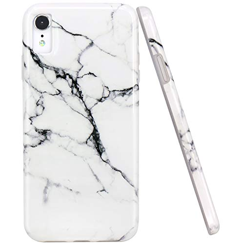 JAHOLAN Compatible iPhone XR Case Watercolor White Marble Design Clear Bumper Glossy TPU Soft Rubber Silicone Cover Phone Case for iPhone XR 2018 6.1 inch