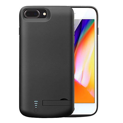 Battery Case for iPhone 7Plus 8Plus,Cofuture 8000mAh Extended Protective Battery Case with Lightning Headphone Jack,Sync Through,Pop-out Kickstand (iPhone 7P 8P Black)