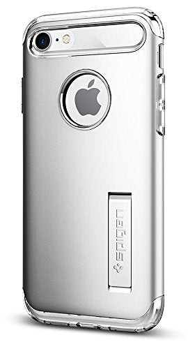 Spigen Slim Armor iPhone 7 / iPhone 8 Case with Kickstand and Air Cushion Technology Hybrid Drop Protection for Apple iPhone 7 (2016) / iPhone 8 (2017) - Satin Silver