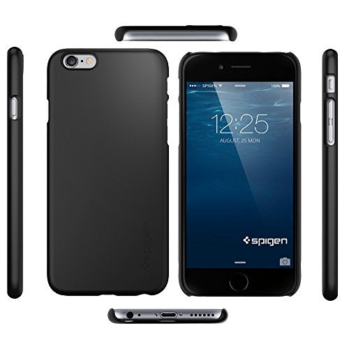 new concept 83f90 7dd1b Spigen Thin Fit iPhone 6 Case with SF Coated Non Slip Matte Surface for  Excellent Grip for iPhone 6S / iPhone 6 - Smooth Black