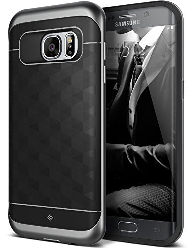 Galaxy S7 Edge Case, Caseology [Parallax Series] Slim Premium PU Leather Dual Layer Protective Corner Cushion Design [Black] for Samsung Galaxy S7 Edge (2016)