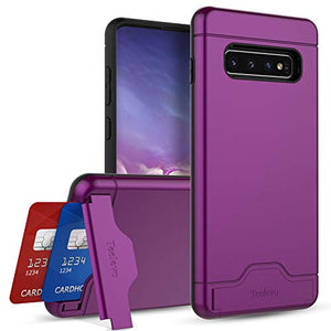Teelevo Wallet Case for Galaxy S10 Plus - Dual Layer Case with Card Slot Holder and Kickstand for Samsung Galaxy S10 Plus (2019) - Purple