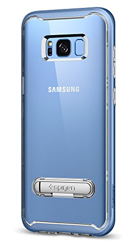 Spigen Crystal Hybrid Galaxy S8 Case with Water-Mark PC and Magnetic Metal Kickstand for Galaxy S8 (2017) - Coral Blue