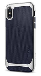 Spigen Neo Hybrid iPhone X Case herringbone with Flexible Inner Protection and Reinforced Hard Bumper Frame for Apple iPhone X (2017) - Satin Silver