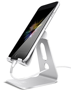 Adjustable Cell Phone Stand, Lamicall iPhone Stand : [UPDATE VERSION] Cradle, Dock, Holder For Switch, iPhone 8 X 7 6 6s Plus 5 5s 5c charging, Accessories Desk, all Android Smartphone - Silver