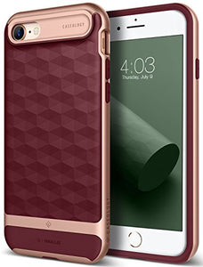 iPhone 8 Case / iPhone 7 Case Caseology [Parallax Series] Slim Protective Dual Layer Textured Cover Secure Grip Geometric Design for Apple iPhone 8 (2017) / iPhone 7 (2016) - Burgundy / Rose Gold