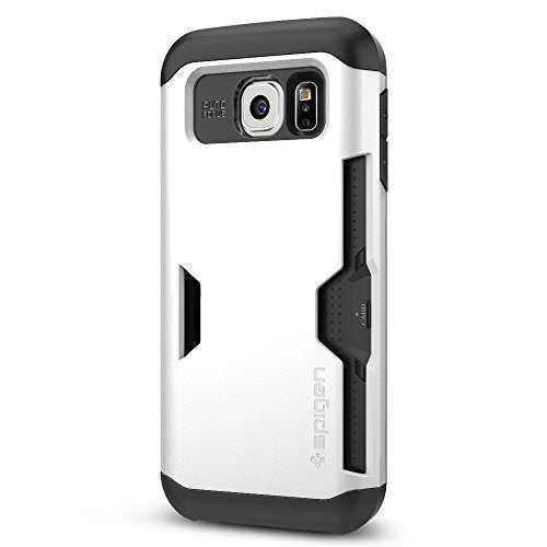 Spigen Slim Armor CS Galaxy S6 Case with Slim Dual Layer Wallet Design and Card Slot Holder for Galaxy S6 2015 - Shimmery White