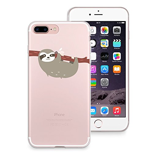 size 40 db797 8b5e6 iPhone 8 Plus Case, iPhone 7 Plus Case, CasesByLorraine Cute Sloth Clear  Transparent Case Flexible TPU Soft Gel Protective Cover for Apple iPhone 7  ...