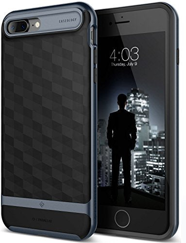iPhone 7 Plus Case / iPhone 8 Plus Case, Caseology [Parallax Series] Slim Protective Textured Geometric Cover Drop Protection for Apple iPhone 7 Plus (2016) / iPhone 8 Plus (2017) - Black / Deep Blue