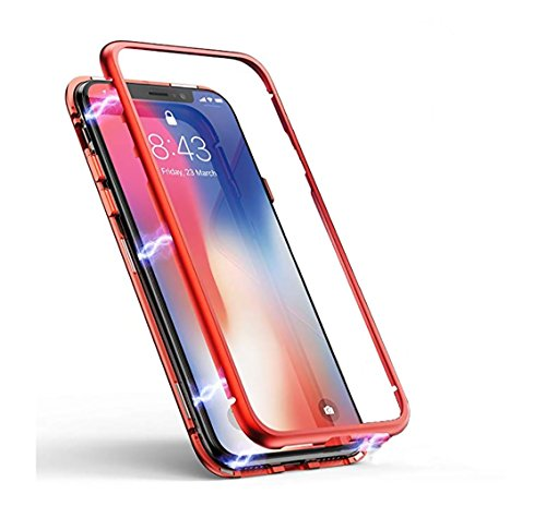 iPhone X Case, DOROIM Ultra Slim Magnetic Adsorption Aluminum Alloy Tempered Glass with Built-in Magnet Flip Cover for Apple iPhoneX/10 (Clear red)