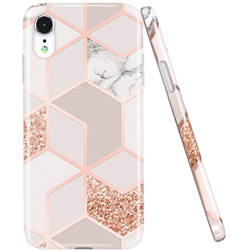 JAHOLAN Compatible iPhone XR Case Bling Glitter Sparkle Rose Gold Marble Design Clear Bumper TPU Soft Rubber Silicone Cover Phone Case for iPhone XR 2018 6.1 inch