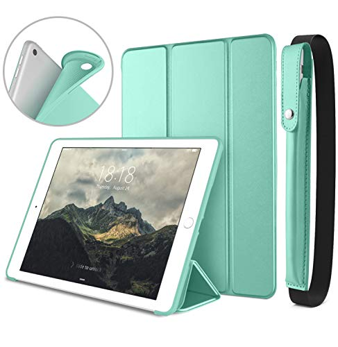 DTTO New iPad 9.7 Inch 2018/2017 Case with Apple Pencil Holder, Ultra Slim Smart Case with Trifold Stand and Soft TPU Back Cover for Apple iPad 5th / 6th Generation [Auto Sleep/Wake] - Mint Green