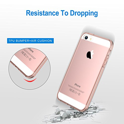low priced cbf3b a182c iPhone SE Case, JETech Apple iPhone SE/5S/5 Case Bumper Cover  Shock-Absorption Bumper and Anti-Scratch Clear Back for iPhone 5 5S SE  (Rose Gold) - ...