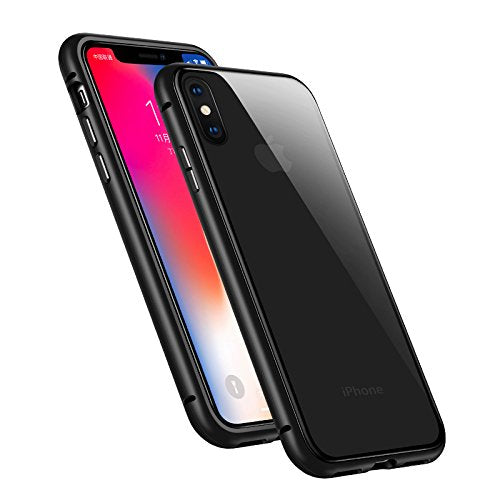 iPhone X Case, iPhone 10 Case, Plainmarsh Ultra-Thin Lightweight Case Magnetic Adsorption Tempered Glass Back Alloy Frame Support Wireless Charging (Black, iPhone X,5.8 Inch)