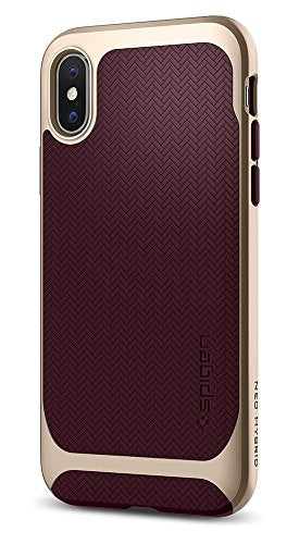 Spigen Neo Hybrid iPhone X Case herringbone with Flexible Inner Protection and Reinforced Hard Bumper Frame for Apple iPhone X (2017) - Burgundy