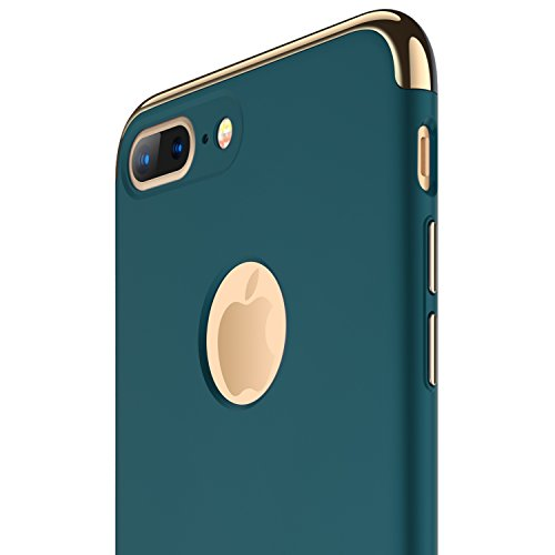 iPhone 7 Plus Case, RANVOO Thin Hard Slim Fit Stylish Cover with 3 Detachable Parts Case for Apple iPhone 7 Plus Only, CHROME GOLD and DARK GREEN [CLIP-ON]