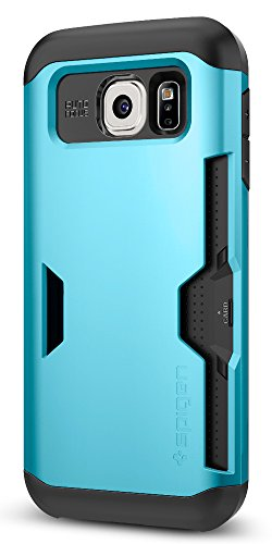 Spigen Slim Armor CS Galaxy S6 Case with Slim Dual Layer Wallet Design and Card Slot Holder for Galaxy S6 2015 - Blue Topaz