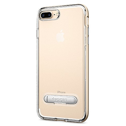 Spigen Crystal Hybrid iPhone 7 Plus / iPhone 8 Plus Case with Water-Mark Clear Case and Magnetic Metal Kickstand for Apple iPhone 7 Plus (2016) / iPhone 8 Plus (2017) - Champagne Gold
