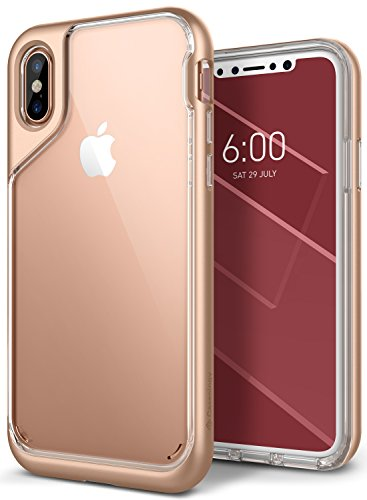 iPhone X Case, Caseology [Skyfall Series] Slim Transparent Clear Scratch Resistant Protective Cover for Apple iPhone X (2017) - Gold